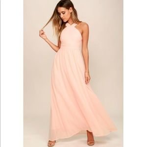 Lulu's Dresses - LULU'S Air of Romance Peach Maxi Dress